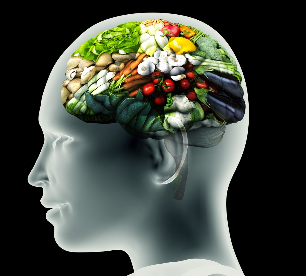 x-ray image of human head with vegetables for a brain.